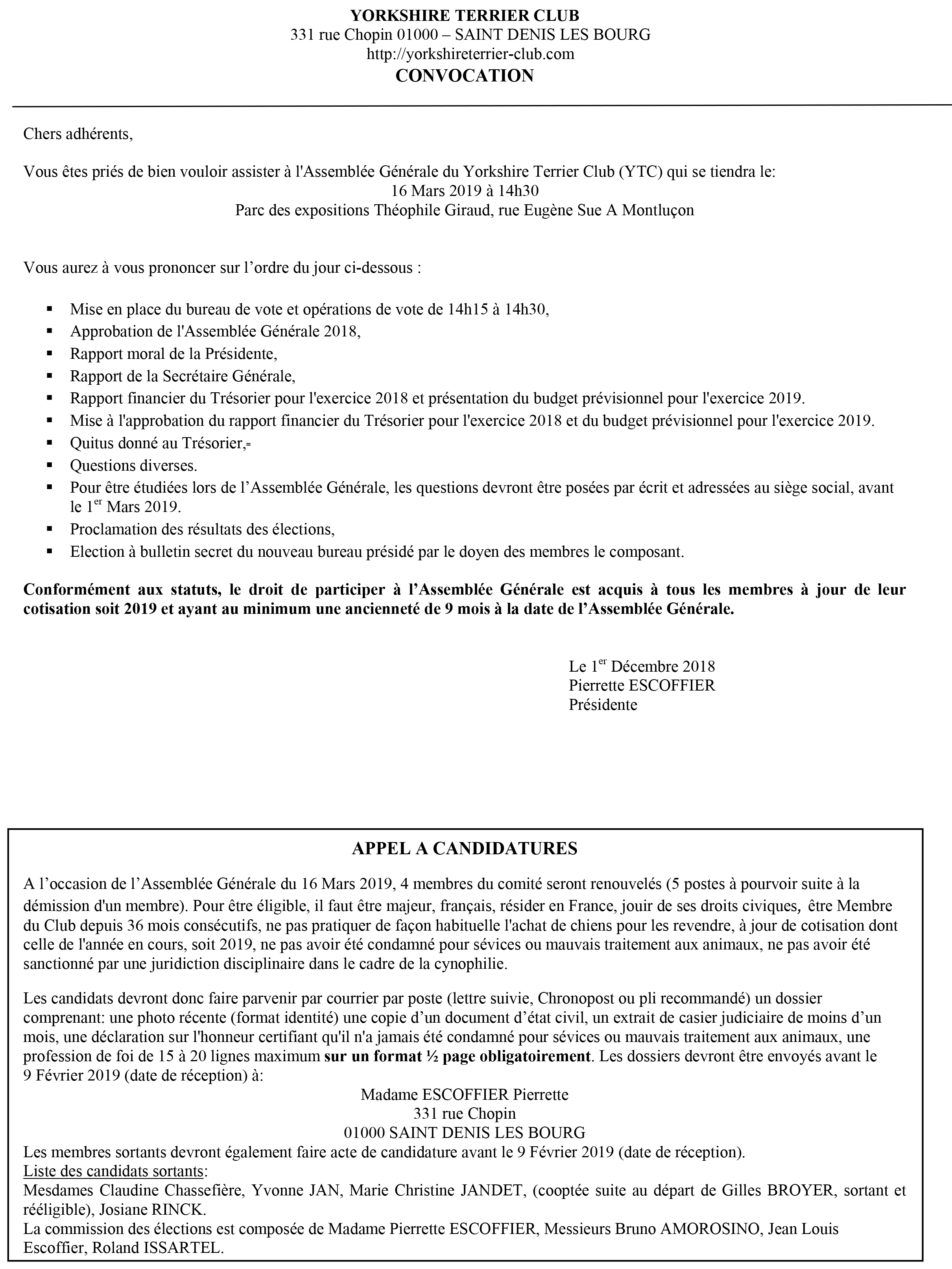 Microsoft Word - CONVOC AG  + APPEL CANDIDATURES YORKSHIRE.doc